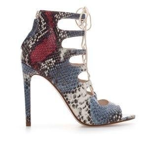 Zara Snake-print Lace Up Heel